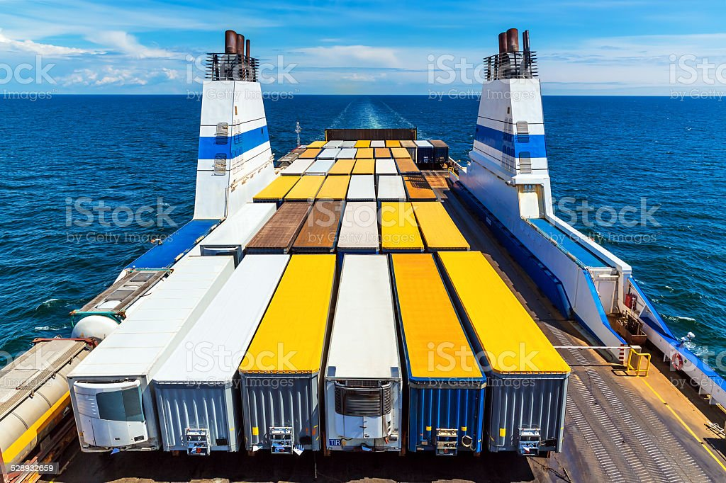 Cargo ferry stock photo