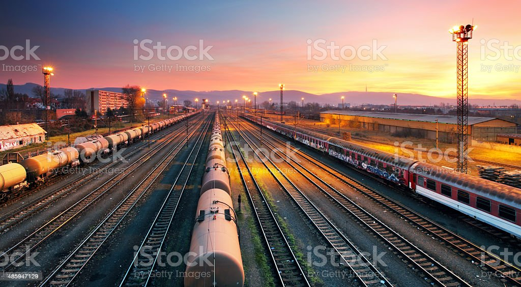 Cargo freight train railroad station stock photo