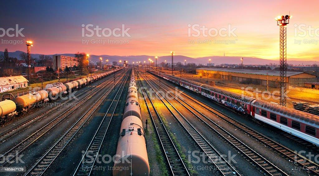 Cargo freight train railroad station stock photo