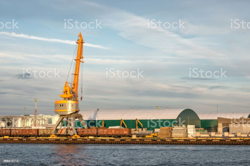 Cargo handling in the port. stock photo