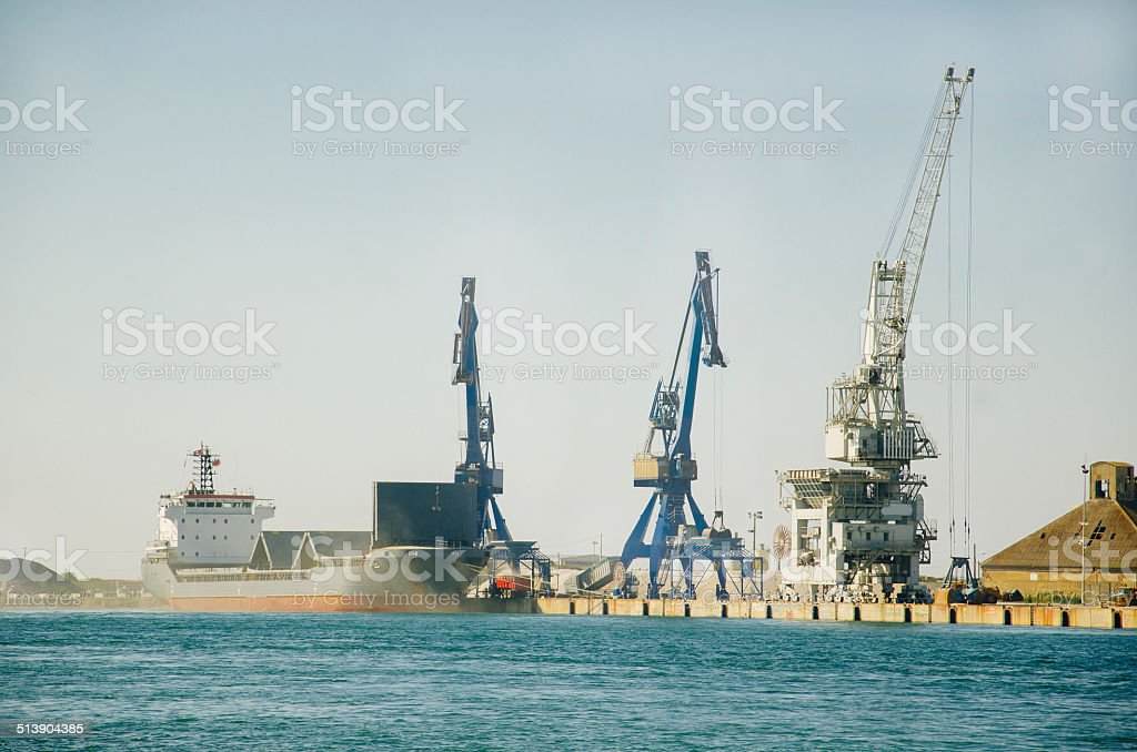 Cargo harbour and ship stock photo