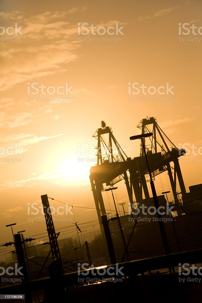 cargo harbour in sundown royalty-free stock photo