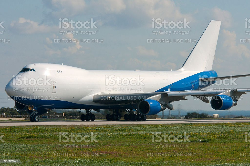 Cargo Jumbojet on the runway before take off stock photo