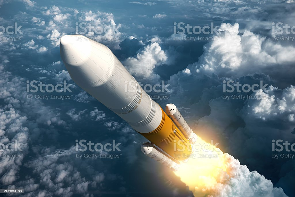 Cargo Launch Rocket Takes Off stock photo