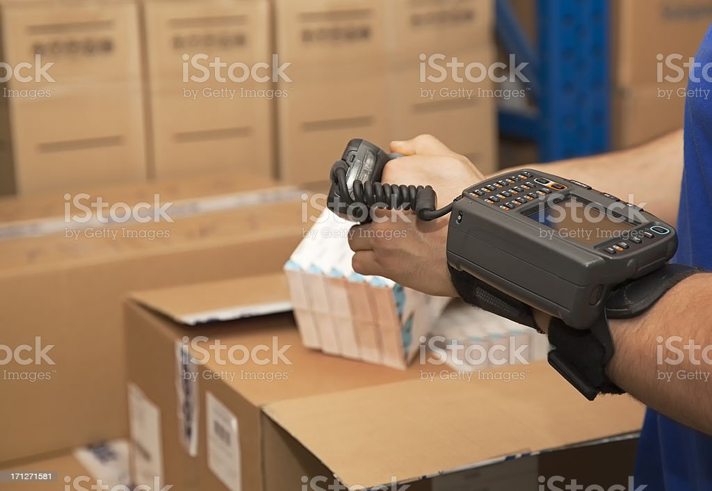 Cargo man checking on digital equipment stock photo