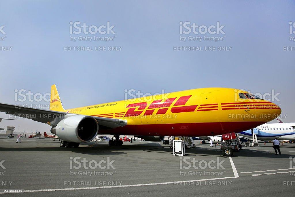 DHL Cargo plane in Bahrain International Airshow stock photo