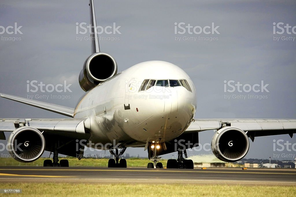 Cargo plane on the runway stock photo