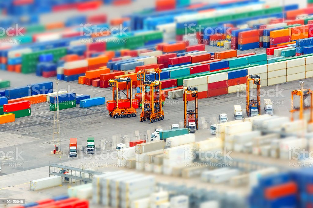 Cargo port and container terminal, Barcelona stock photo