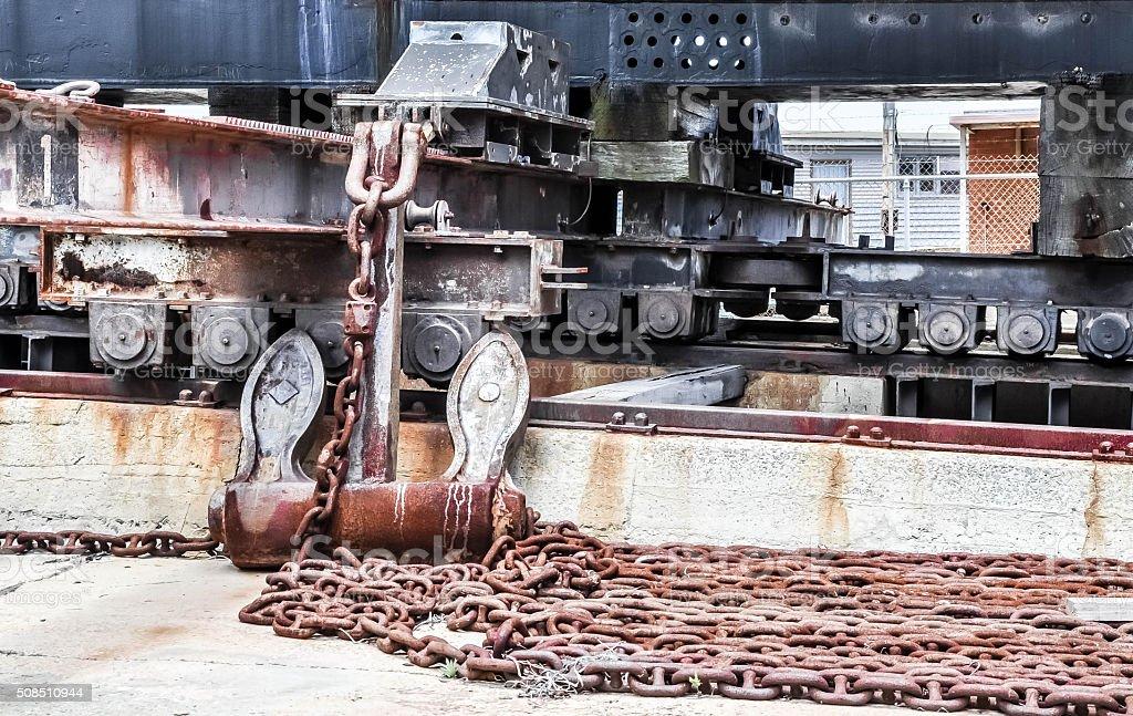 Cargo Port Cribbing: Rusty Details stock photo
