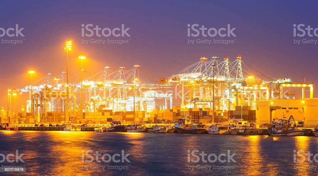 cargo port in  evening. Algeciras stock photo