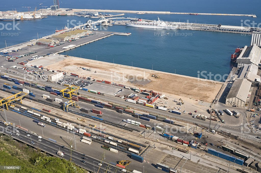 Cargo port of Barcelona royalty-free stock photo