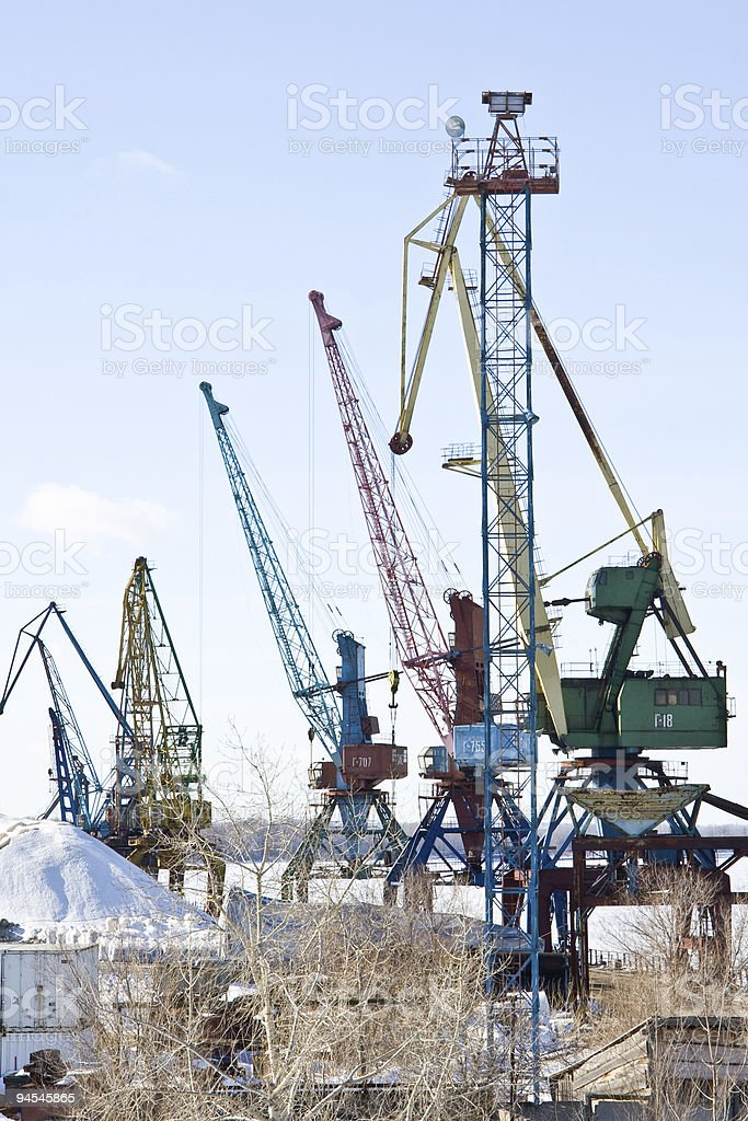 Cargo river port of the city Samara, Russia royalty-free stock photo