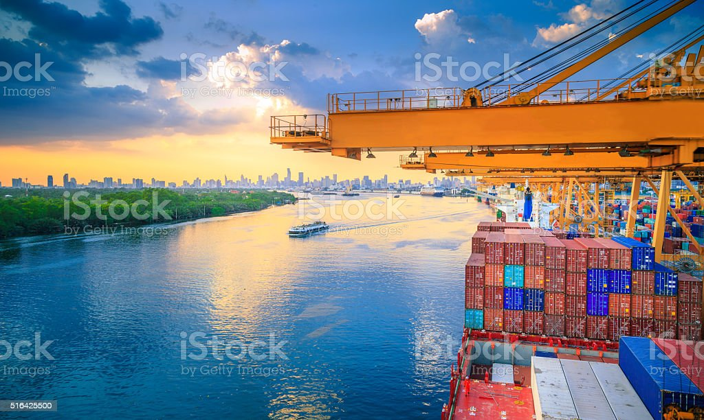 Cargo River Side stock photo
