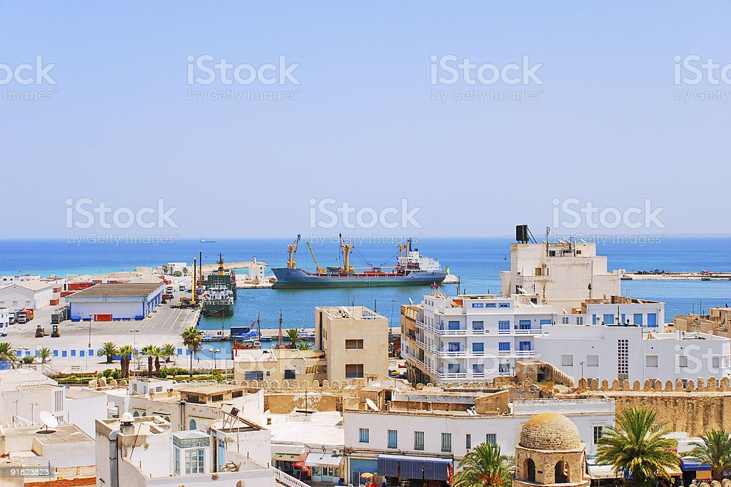 Cargo Seaport of Sousse, Tunisia stock photo