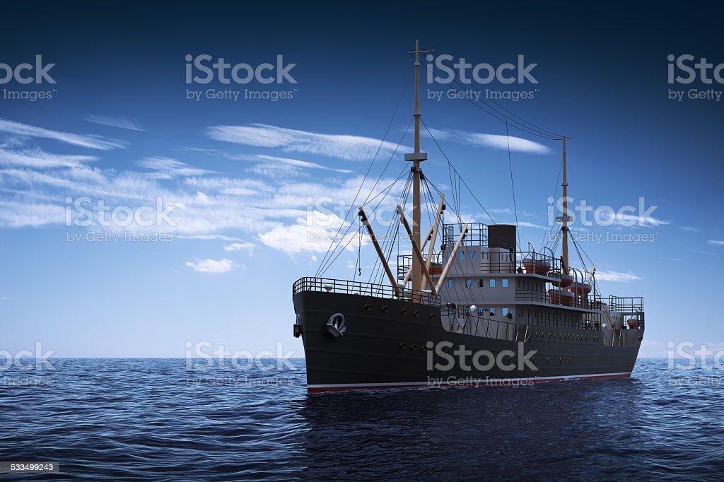 Cargo Ship. 3D Scene. stock photo