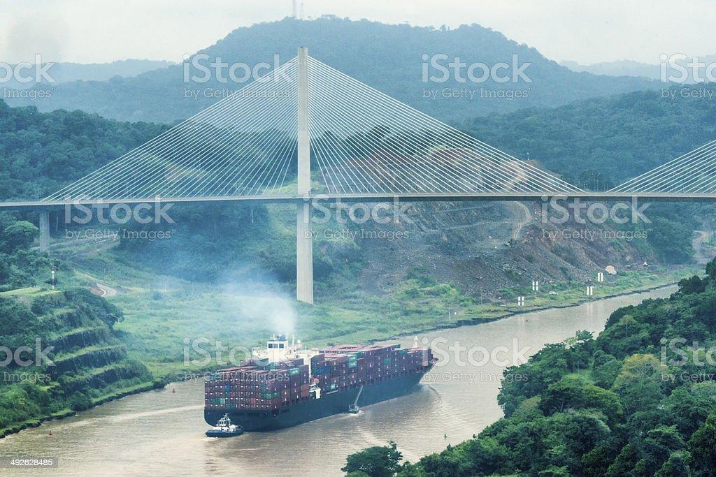 Cargo ship and Centerary Bridge on Panama Canal royalty-free stock photo