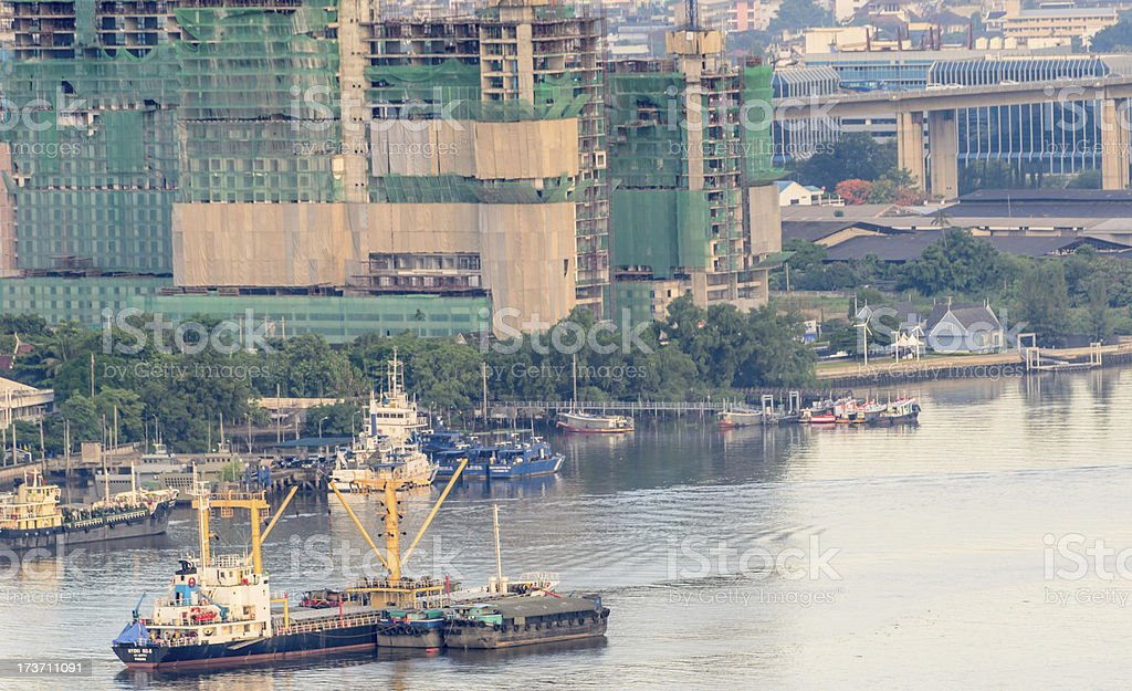 Cargo ship and Construction royalty-free stock photo