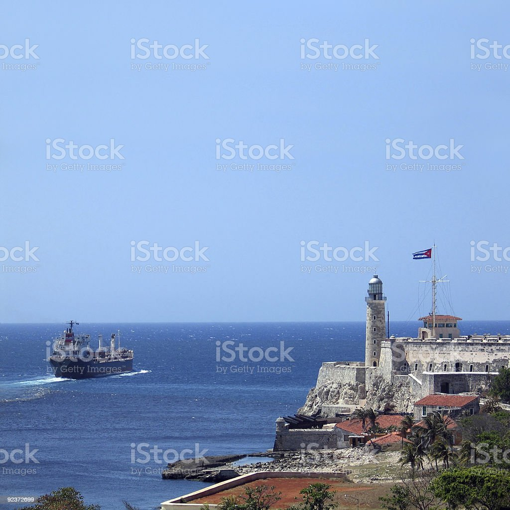 Cargo ship at Havana bay royalty-free stock photo