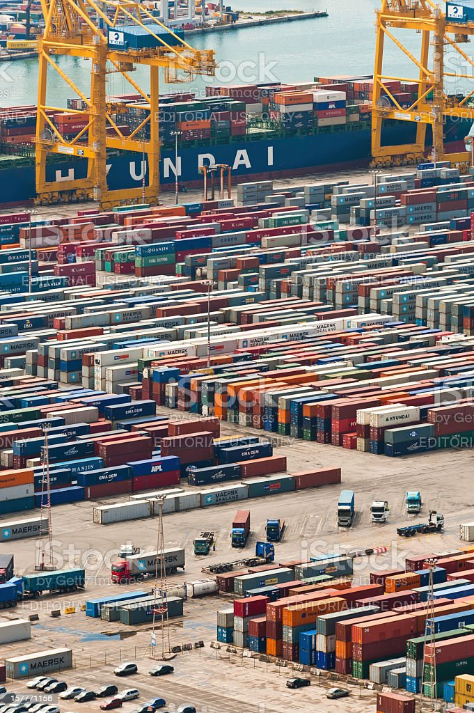 Cargo ship container port royalty-free stock photo