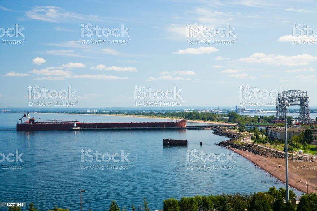 Cargo ship entering harbor in Duluth, Minnesota, USA. stock photo