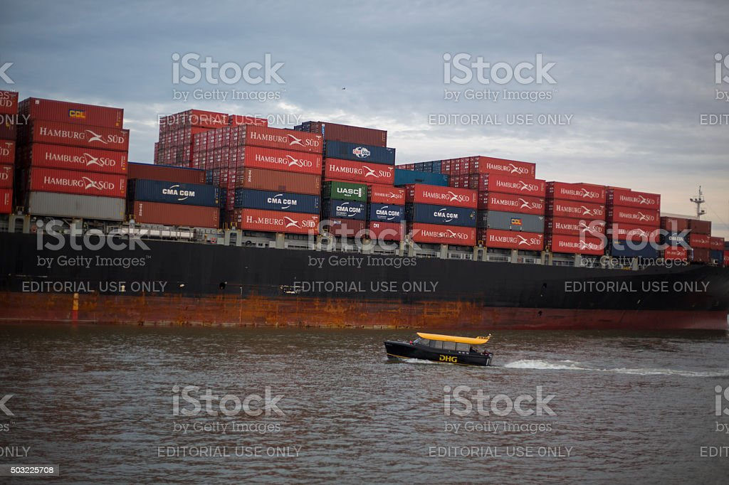 Cargo ship full with containers stock photo