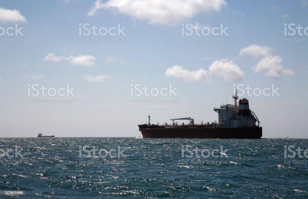 Cargo Ship Heading to Sea royalty-free stock photo