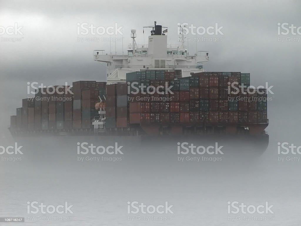 Cargo Ship in Fog royalty-free stock photo
