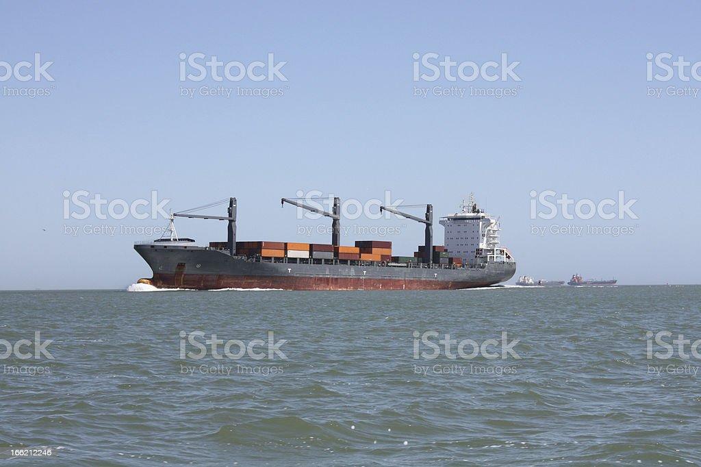 Cargo Ship in Galveston Bay stock photo
