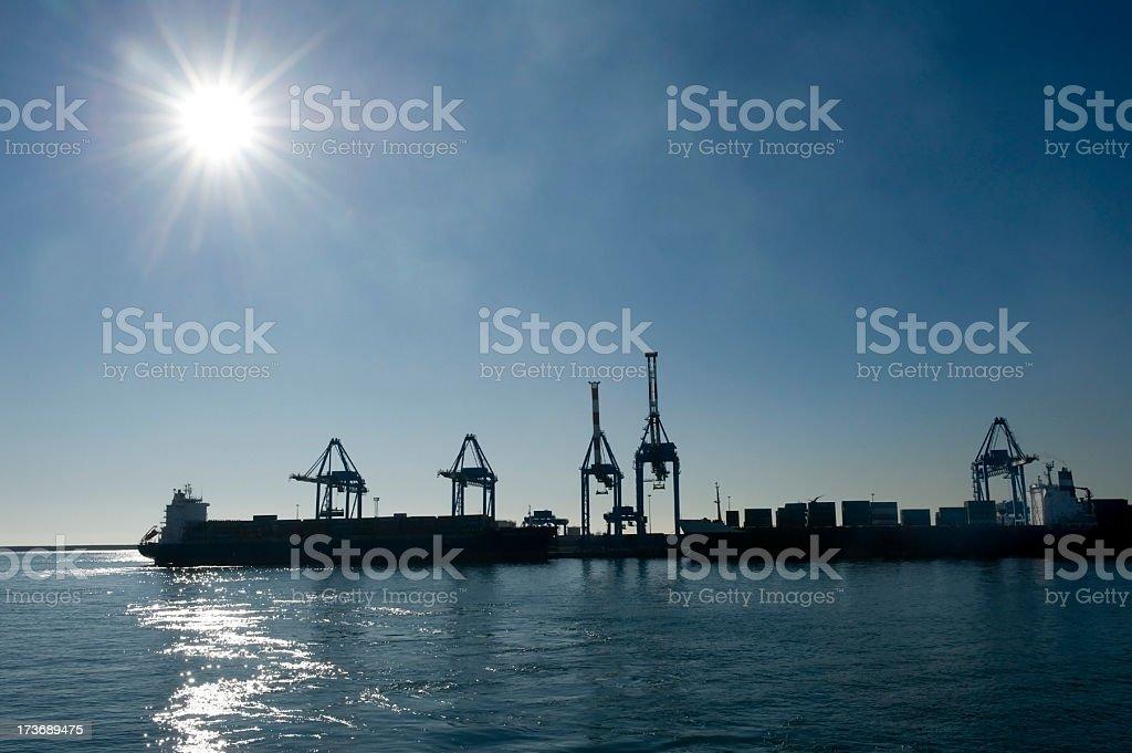 Cargo ship in Genoa Harbor royalty-free stock photo