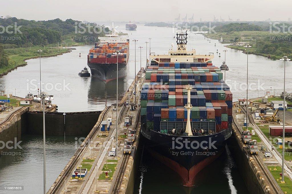 Cargo Ship in Panama Canal stock photo
