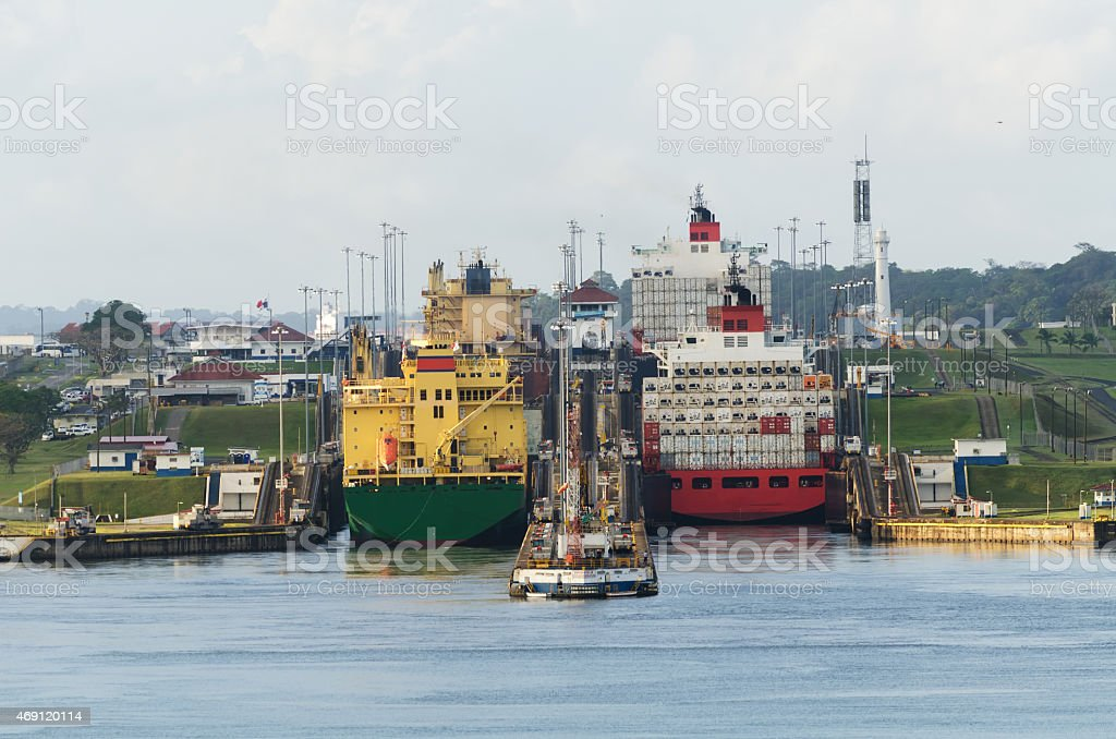 Cargo Ship in Panama Canal stock photo