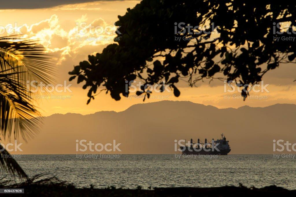 Cargo ship in Puntarenas, Costa Rica stock photo