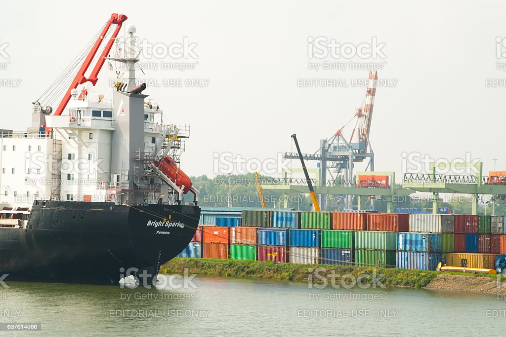 Cargo ship in the container terminal, Port of Roterdam stock photo