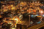 Cargo ship in the harbor in night