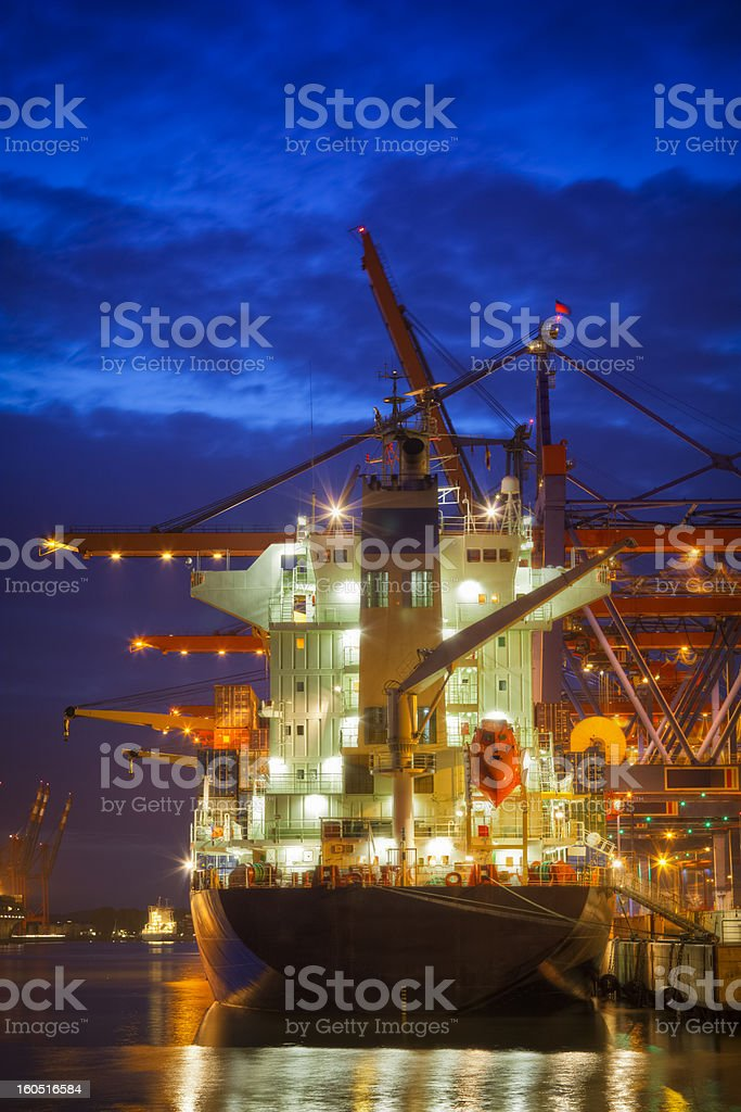 Cargo Ship in the Harbor royalty-free stock photo