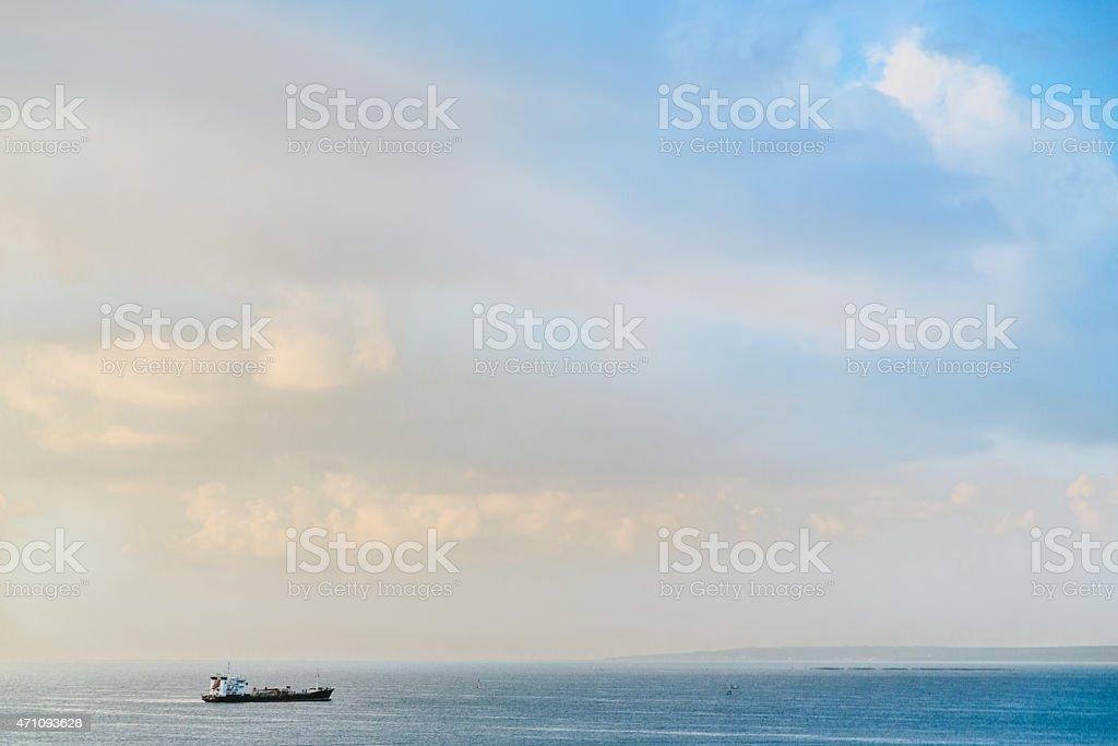 Cargo Ship in the Mediterranean Sea stock photo