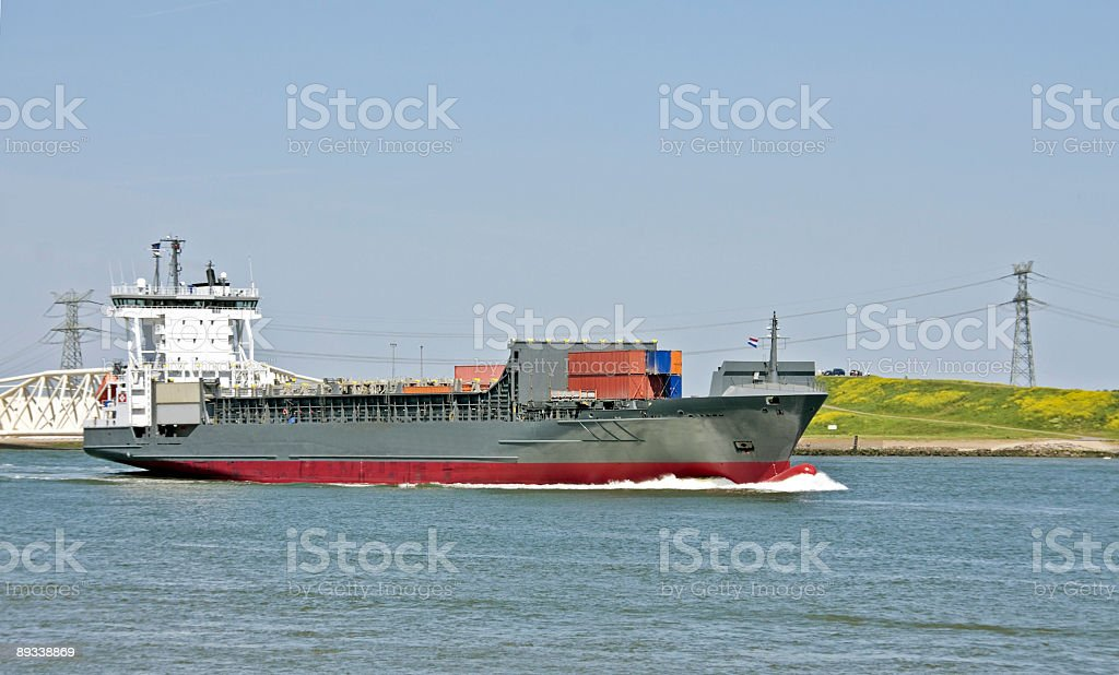 Cargo ship in the Nieuwe Waterweg Holland stock photo