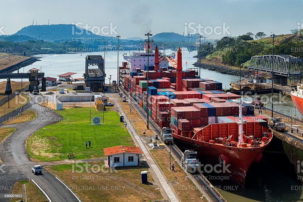 Cargo Ship in the Panama Canal. stock photo