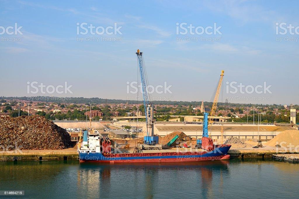 Cargo Ship Loading In Southampton stock photo