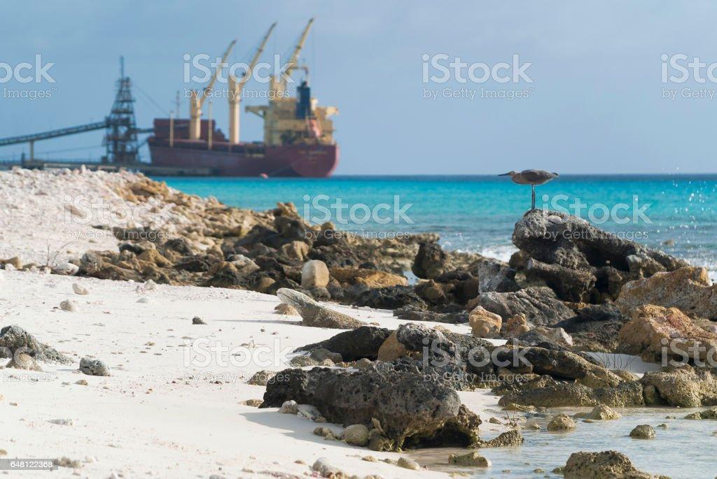 A cargo ship loading stock photo