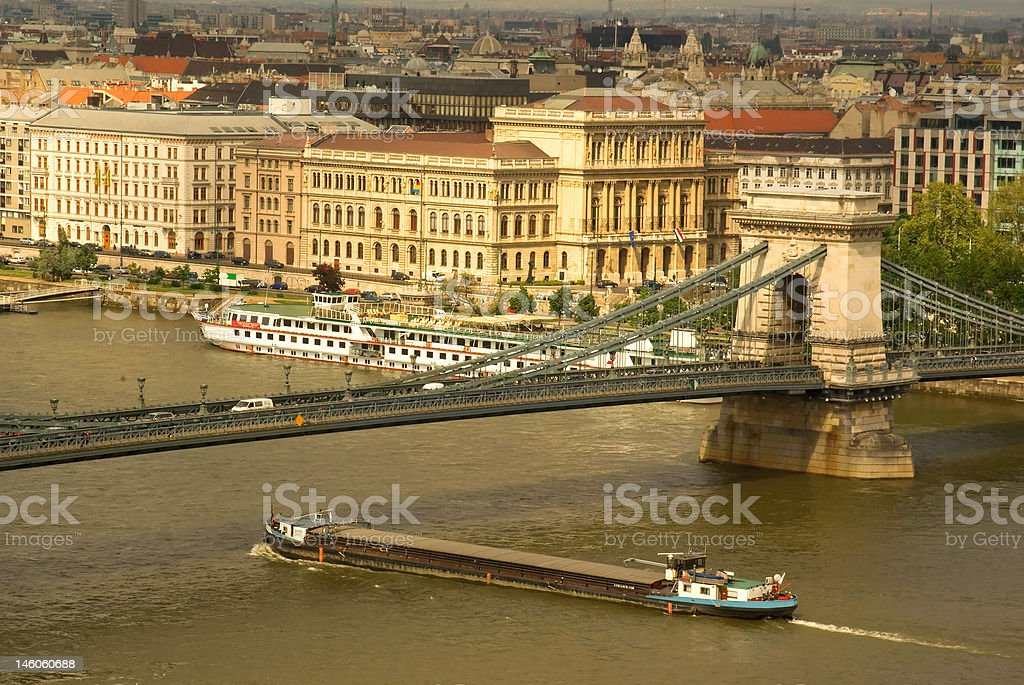 cargo ship moves through danube in budapest royalty-free stock photo