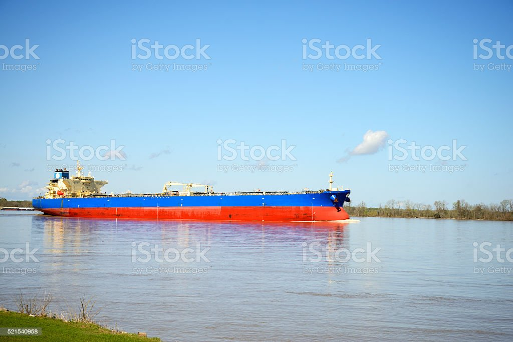 Cargo ship on Mississippi river stock photo