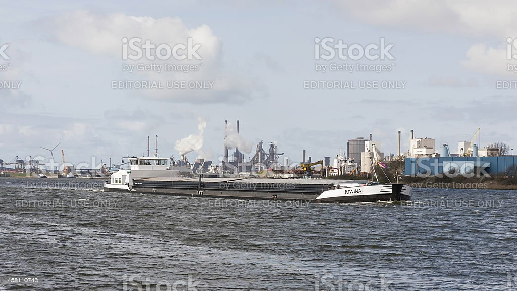 Cargo ship on North Sea Canal at IJmuiden stock photo