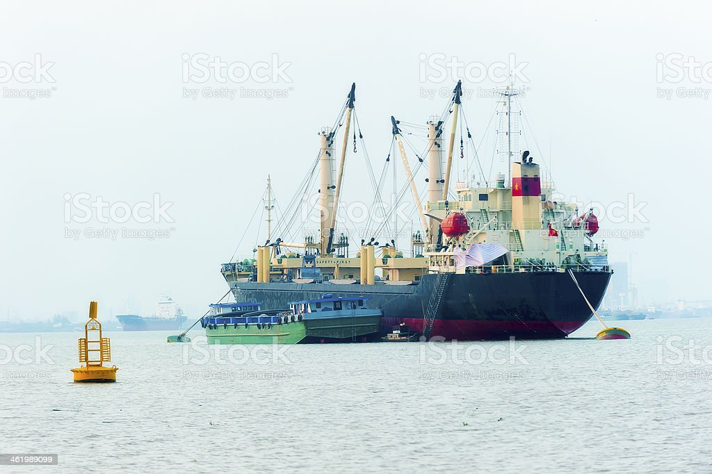 Cargo ship on the river royalty-free stock photo