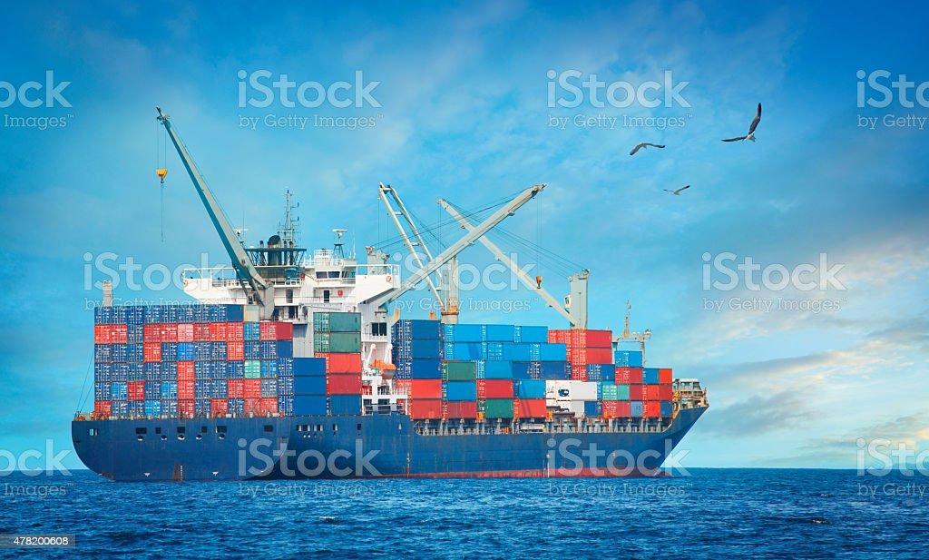 Cargo ship on the sea stock photo