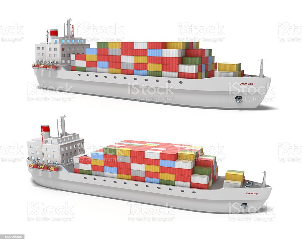 Cargo ship on white royalty-free stock photo