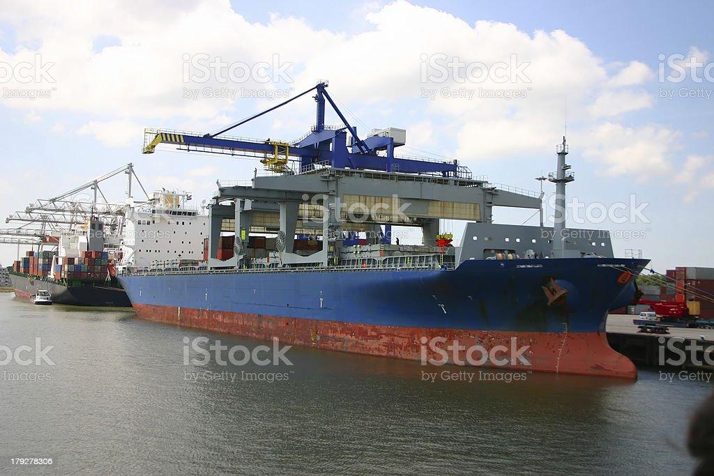 Cargo ship (Rotterdam, The Netherlands) stock photo