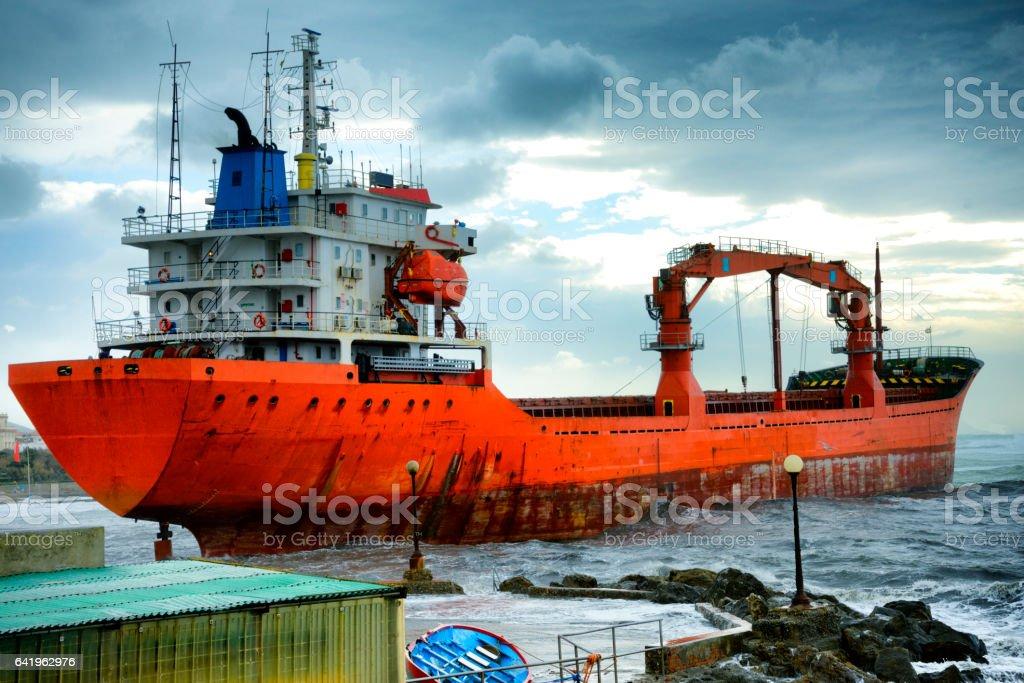 Cargo ship ran afoul during storm stock photo