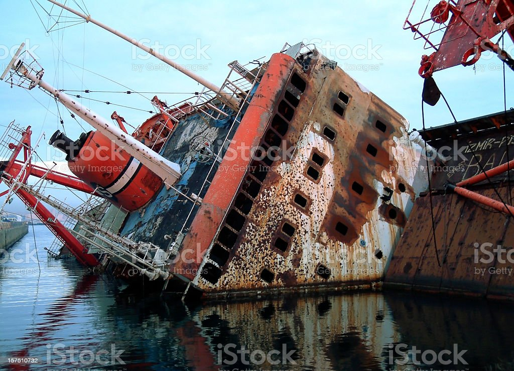 Cargo Ship Sinking, Istanbul, Turkey royalty-free stock photo