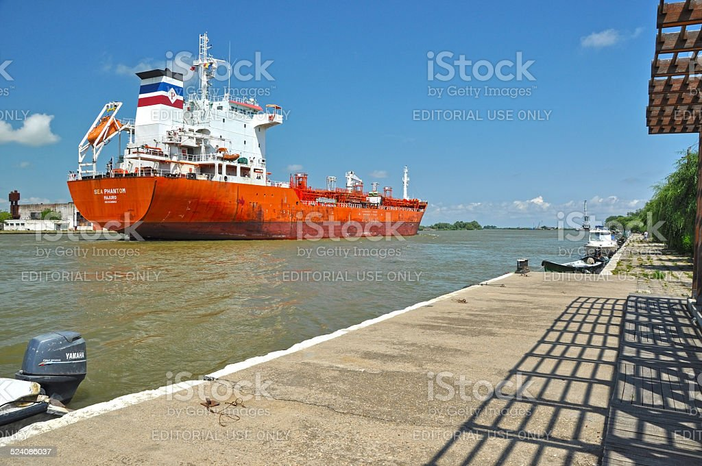 Cargo ship transporting petrol stock photo